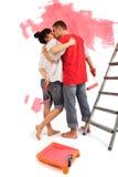 Coppie di baciare degli operai Fotografia Stock Libera da Diritti
