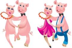 Coppie di ballare dei maiali Fotografia Stock Libera da Diritti
