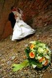 Coppie di cerimonia nuziale nella sosta Fotografia Stock