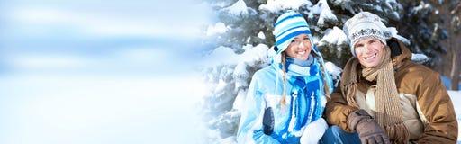 Coppie di natale di inverno Fotografie Stock