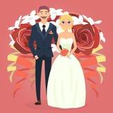 Coppie di nozze con il mazzo Fotografie Stock