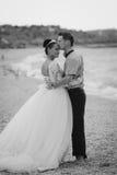 Coppie di nozze, sposa e sposo, camminanti sulla a Immagini Stock