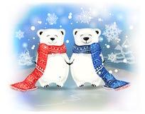 Coppie di piccoli orsi bianchi con i fiocchi di neve Concetto di Natale Fotografia Stock