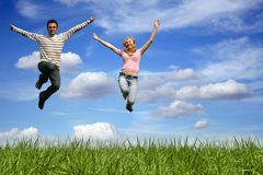 coppie di salto esterne Fotografia Stock Libera da Diritti