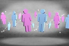 Coppie di un uomo e di una riunione della donna su Internet - renderi 3D Immagine Stock Libera da Diritti