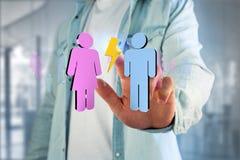 Coppie di un uomo e di una riunione della donna su Internet - renderi 3D Fotografia Stock