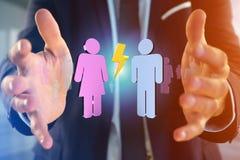 Coppie di un uomo e di una riunione della donna su Internet - renderi 3D Fotografie Stock