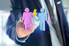 Coppie di un uomo e di una riunione della donna su Internet - renderi 3D Fotografia Stock Libera da Diritti