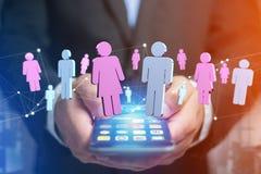 Coppie di un uomo e di una riunione della donna su Internet - renderi 3D Fotografie Stock Libere da Diritti
