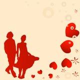 Coppie, disegno del biglietto di S. Valentino Immagini Stock