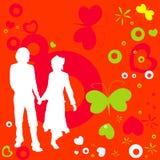 Coppie, disegno del biglietto di S. Valentino Fotografia Stock