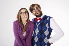 Coppie divertenti del nerd Fotografie Stock Libere da Diritti