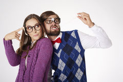 Coppie divertenti del nerd Fotografia Stock