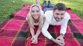 Coppie divertenti sul picnic stock footage