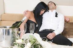 Coppie dopo un partito di nuovo anno Fotografia Stock Libera da Diritti