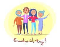 Coppie e bambini senior del manifesto di giorno dei nonni Fotografie Stock
