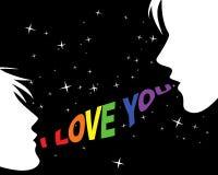 Coppie e parole gaie di amore illustrazione di stock