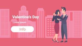 Coppie eleganti che ballano la femmina maschio di biglietti di S. Valentino di giorno di concetto di affari dell'uomo della donna illustrazione di stock