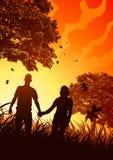 Coppie felici in brezza di autunno illustrazione di stock