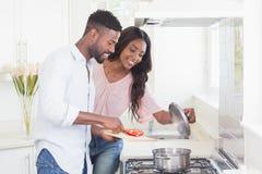 Coppie felici che cucinano insieme alimento Immagine Stock