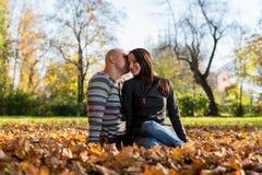 Coppie felici che si siedono insieme nel legno durante l'autunno Fotografie Stock Libere da Diritti