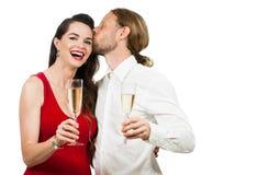 Coppie felici con Champagne immagine stock libera da diritti