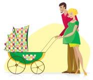 Coppie felici con il passeggiatore del bambino Fotografie Stock