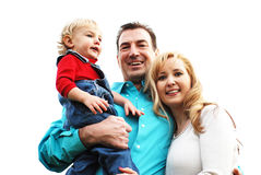Coppie felici con un bambino fotografia stock libera da diritti