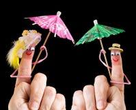 Coppie felici dei burattini del dito Fotografie Stock Libere da Diritti