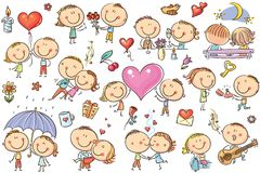 Coppie felici del fumetto nell'amore, insieme di giorno del ` s del biglietto di S. Valentino illustrazione di stock