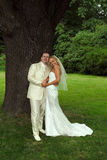 Coppie felici di cerimonia nuziale in sosta fotografie stock libere da diritti