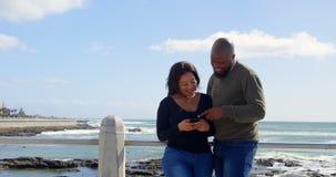 Coppie felici facendo uso del telefono cellulare vicino all'inferriata un giorno soleggiato 4k video d archivio