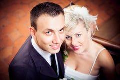 Coppie felici le persone appena sposate Immagine Stock Libera da Diritti