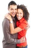 Coppie felici nell'amore. Sopra priorità bassa bianca Fotografia Stock