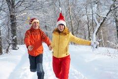 Coppie felici nella sosta di inverno Immagini Stock Libere da Diritti