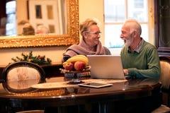 Coppie felici sorridenti dell'anziano facendo uso del computer a casa Immagini Stock Libere da Diritti