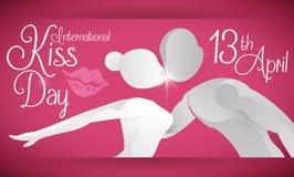 Coppie fittizie che celebrano giorno internazionale di bacio nel 13 aprile, illustrazione di vettore Fotografie Stock