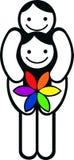 Coppie gaie con il fiore del Rainbow illustrazione di stock
