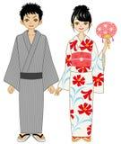 Coppie giapponesi del kimono di estate illustrazione di stock