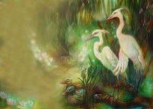 Coppie gli uccelli della gru sul lago con le canne, l'illustrazione ed il posto per testo Immagini Stock