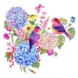 Coppie gli uccelli, ortensia di fioritura con i wildflowers royalty illustrazione gratis