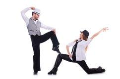 Coppie i ballerini che ballano danza moderna isolata Immagine Stock Libera da Diritti