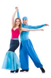 Coppie i ballerini che ballano danza moderna isolata Fotografie Stock