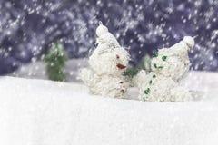 Coppie i pupazzi di neve felici Fotografie Stock Libere da Diritti