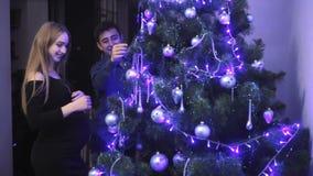 Coppie incinte felici che decorano l'albero di Natale nella loro casa stock footage