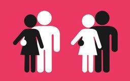 Coppie interrazziali dell'uomo e della donna - relazione di amore fra il maschio in bianco e nero e femminile illustrazione di stock