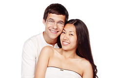 Coppie interrazziali nell'amore Fotografia Stock Libera da Diritti