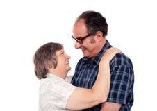 Coppie invecchiate in un umore romantico Immagine Stock