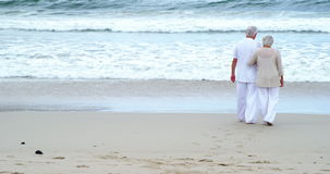 Coppie maggiori che camminano sulla spiaggia video d archivio