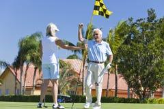 Coppie maggiori felici che giocano insieme golf immagine stock